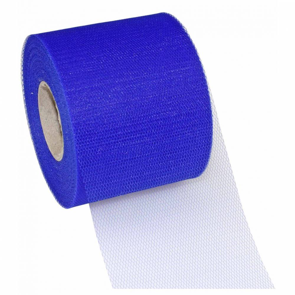 Ruban tulle 72 mm x 50 m bleu royal