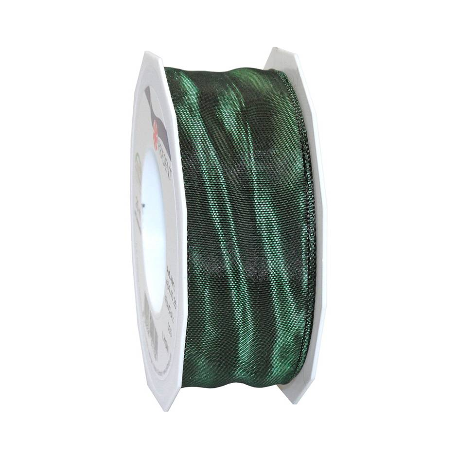Ruban laitonné brillant 40 mm x 25 m vert sapin