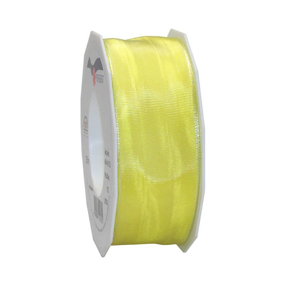 Ruban laitonné brillant 40 mm x 25 m jaune clair