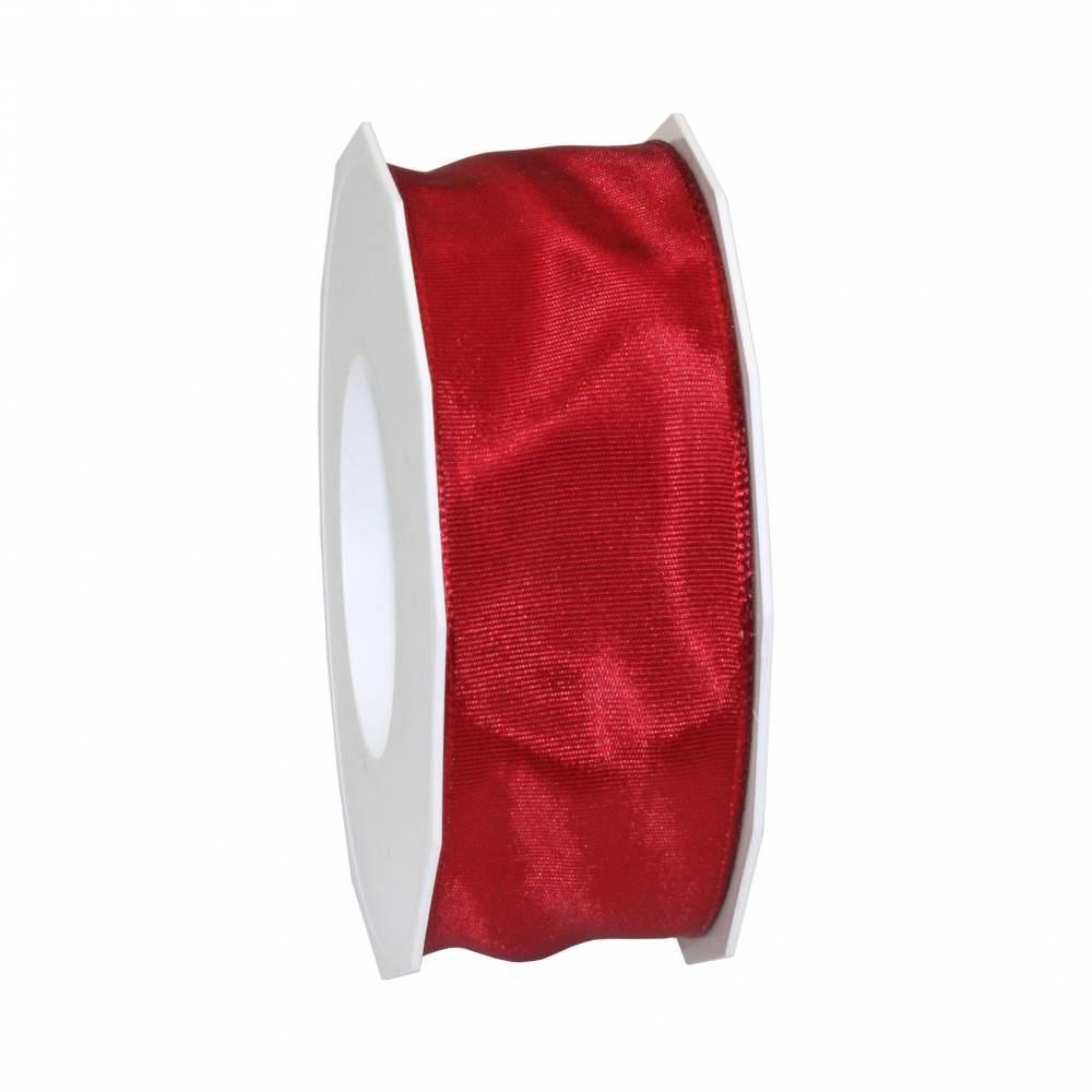 Ruban laitonné brillant 40 mm x 25 m rouge rubis