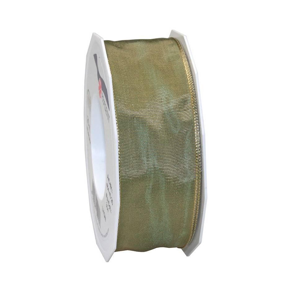 Ruban laitonné brillant 40 mm x 25 m vert antique