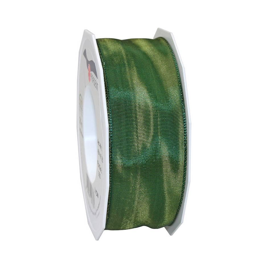 Ruban laitonné brillant 40 mm x 25 m vert mousse