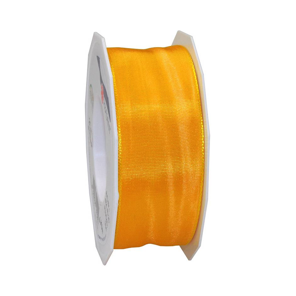 Ruban laitonné brillant 40 mm x 25 m jaune indien