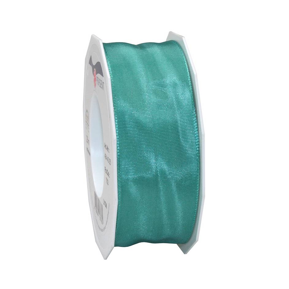 Ruban laitonné brillant 40 mm x 25 m turquoise