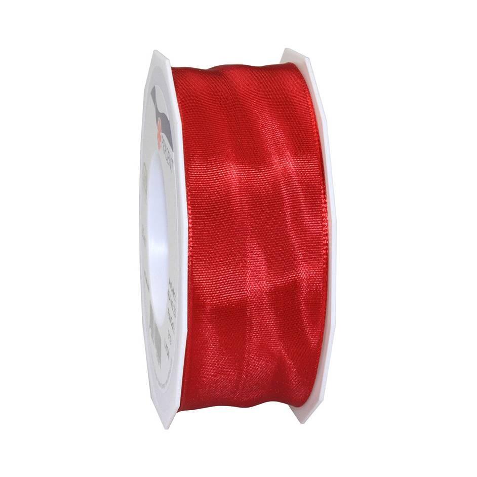 Ruban laitonné brillant 40 mm x 25 m rouge écarlate