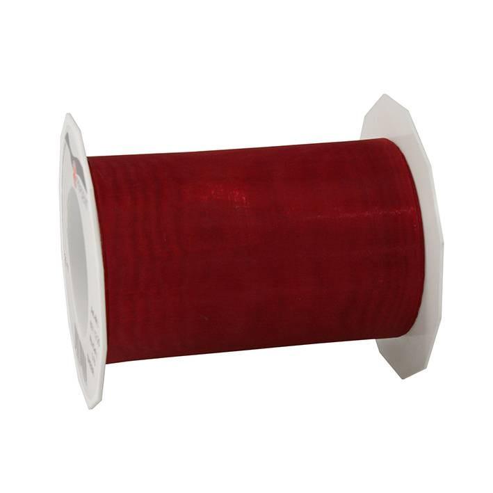 Ruban effet gaze 112 mm x 25 m rouge rubis