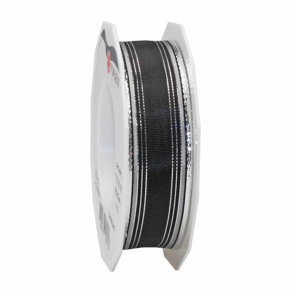 Ruban noir mat spécial noël laitonné 25 mm x 20 m