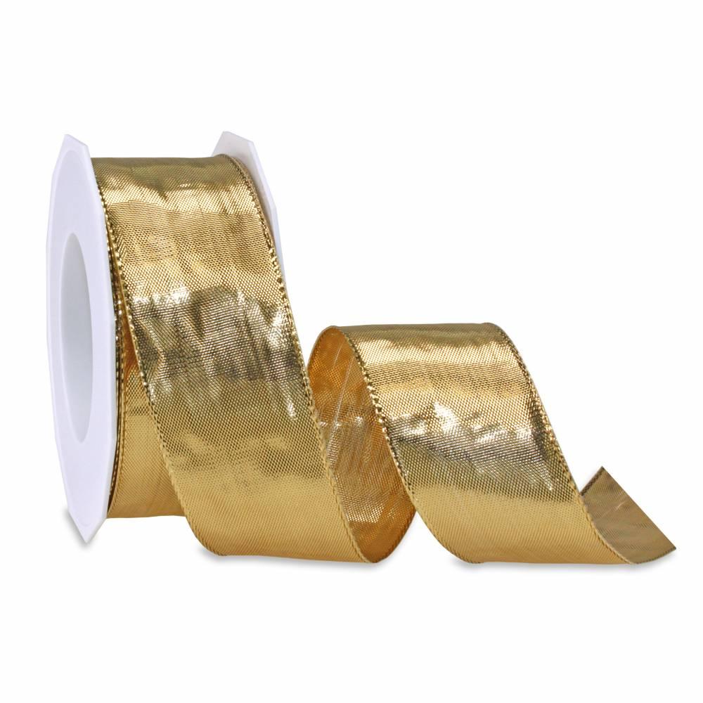Ruban or clair non spécial noël laitonné 40 mm x 20 m
