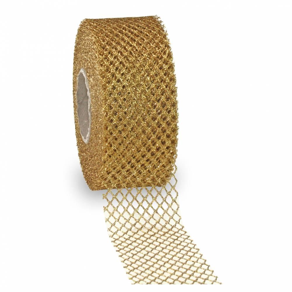 Ruban or mat avec motif, spécial noël laitonné 40 mm x 20 m