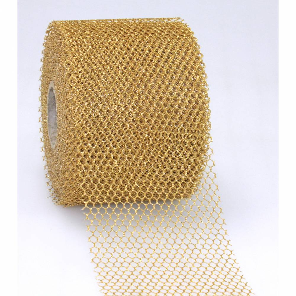 Ruban or mat avec motif, spécial noël laitonné 75 mm x 20 m