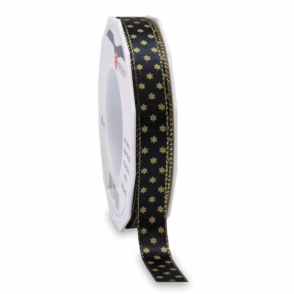 Ruban noir mat avec motif, spécial noël 15 mm x 20 m