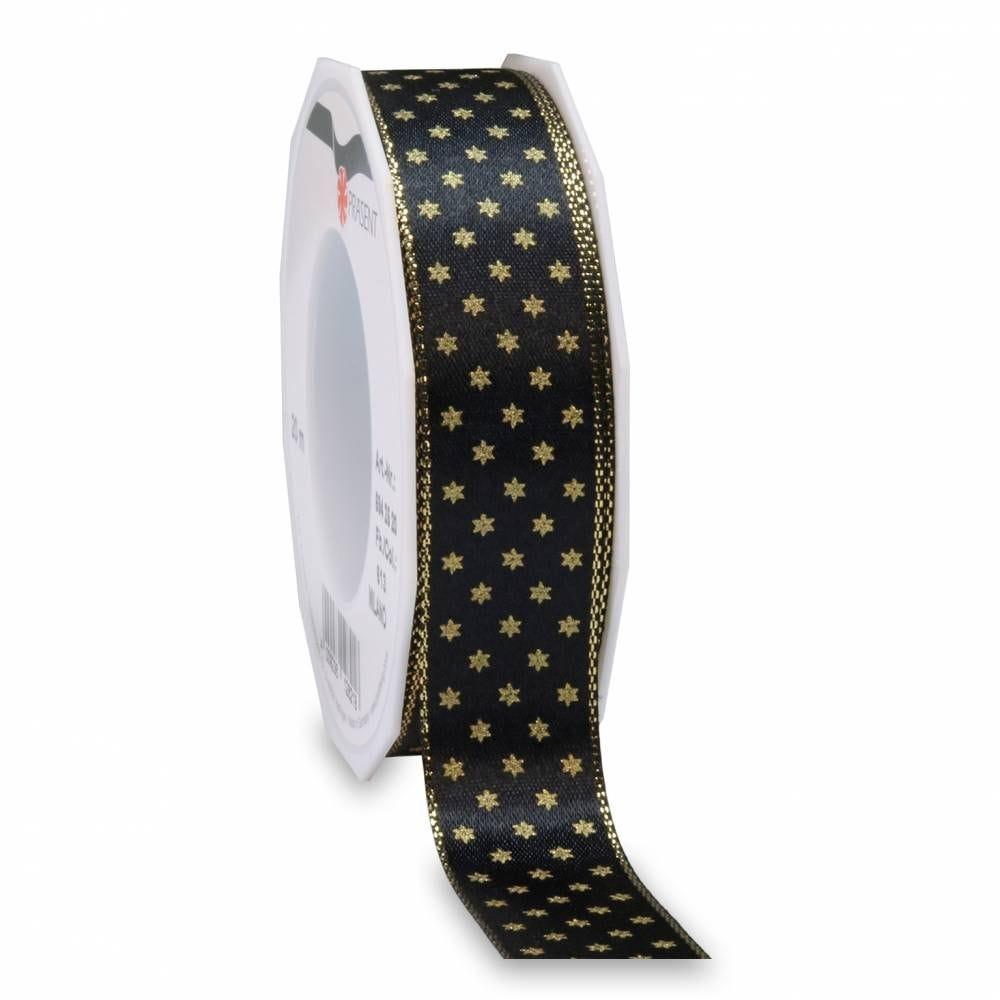 Ruban noir mat avec motif, spécial noël 25 mm x 20 m
