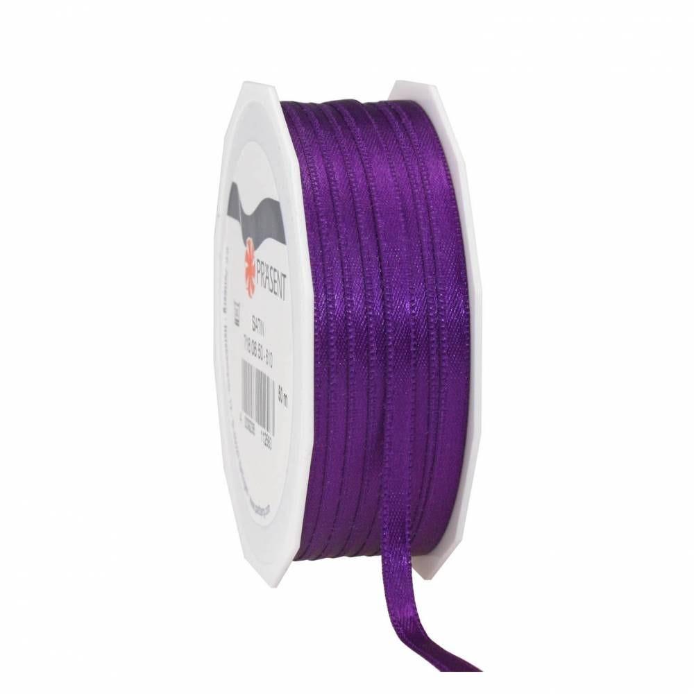 Ruban satin avec surpiqures 6 mm x 50 m violet