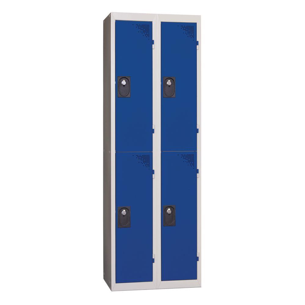 Vestiaires 2 cases x 2 colonnes - Monobloc - Bleu - Largeur 80cm
