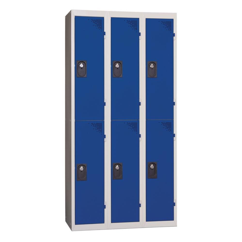 Vestiaires 2 cases x 3 colonnes - Monobloc - Bleu - Largeur 120cm