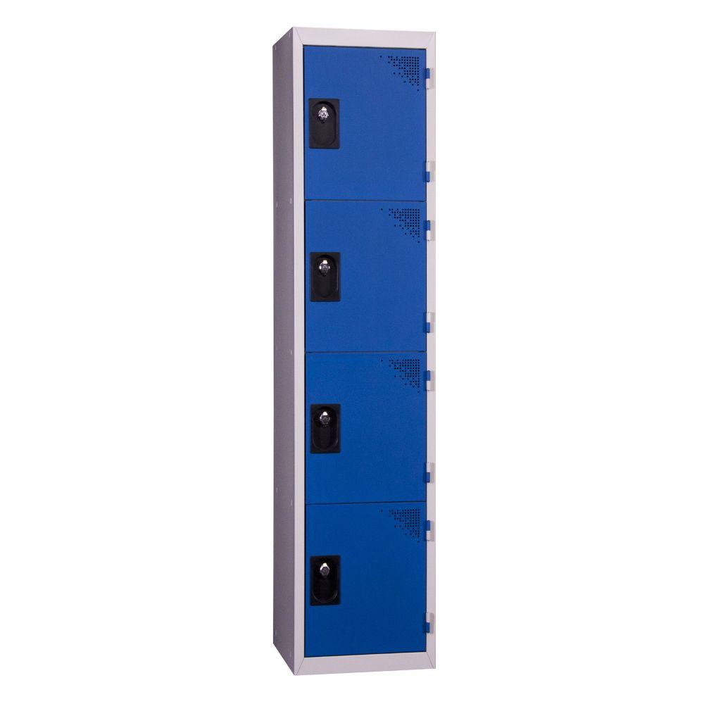 Vestiaires 4 cases x 1 colonne - Monobloc - Bleu - Largeur 40cm