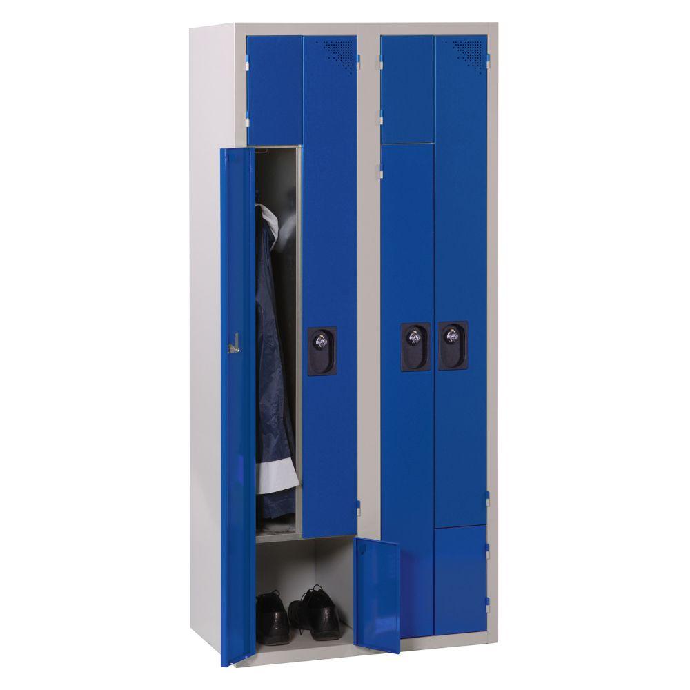 Vestiaire 2-en-1 - Monobloc - Bleu - 2 colonnes