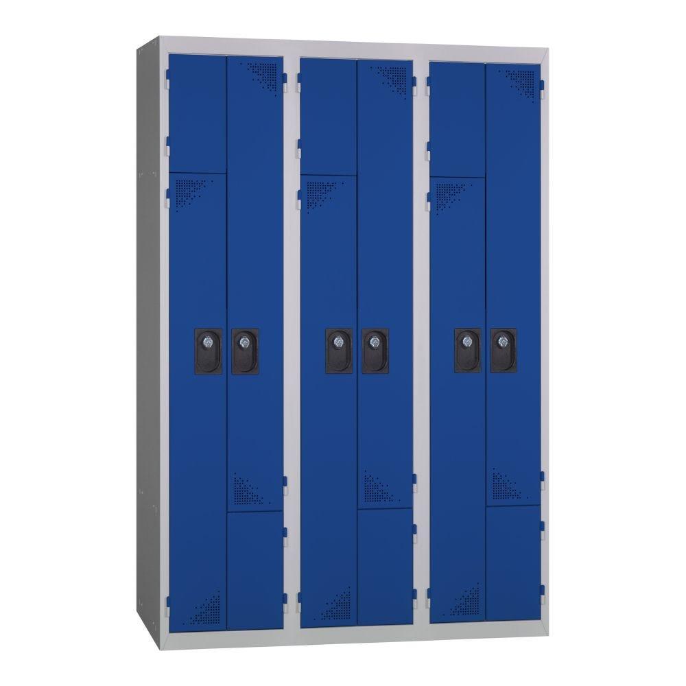 Vestiaire 2-en-1 - Monobloc - Bleu - 3 colonnes