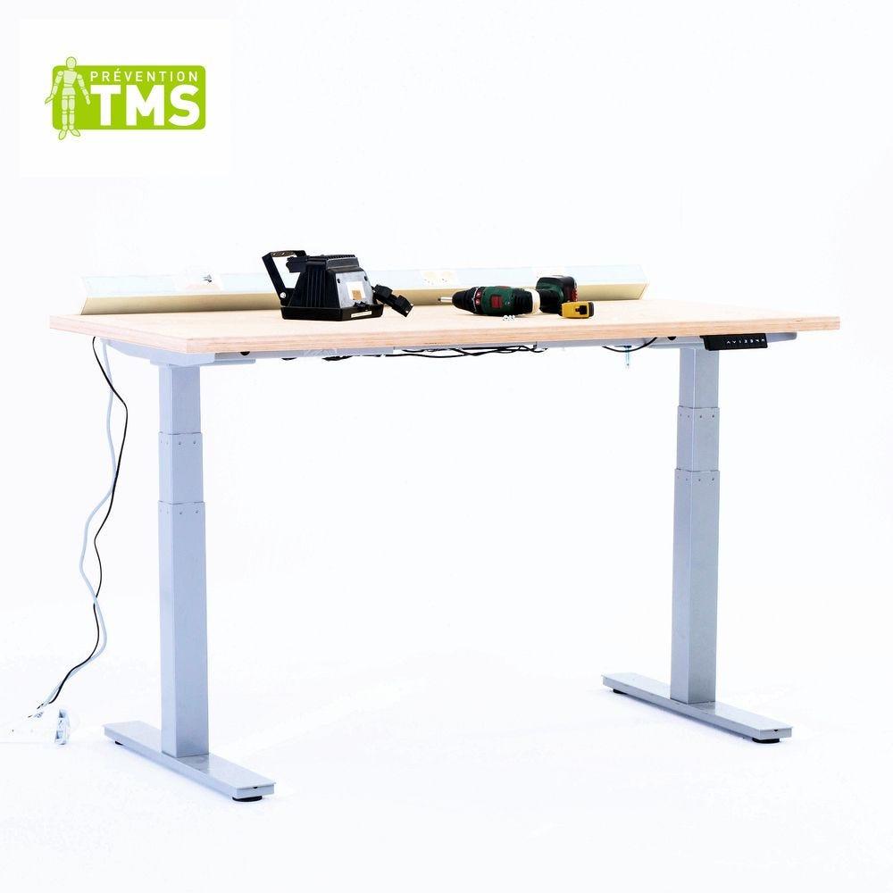 Table réglable en hauteur électriquement - L120cm - Plateau multiplis