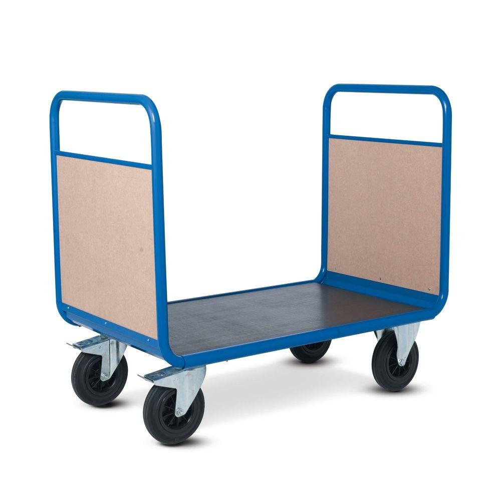Chariot manutention avec 2 dossiers bois charge 500kg - L120 x l70cm