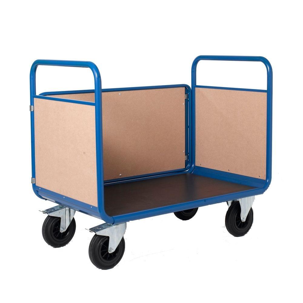 Chariot manutention 3 côtés bois charge 500kg - L100 x l70cm