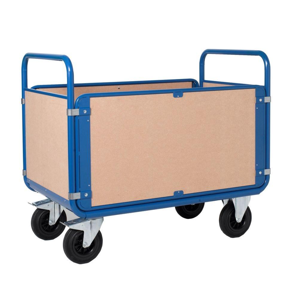 Chariot manutention 4 côtés bois charge 500kg - L120 x l70cm