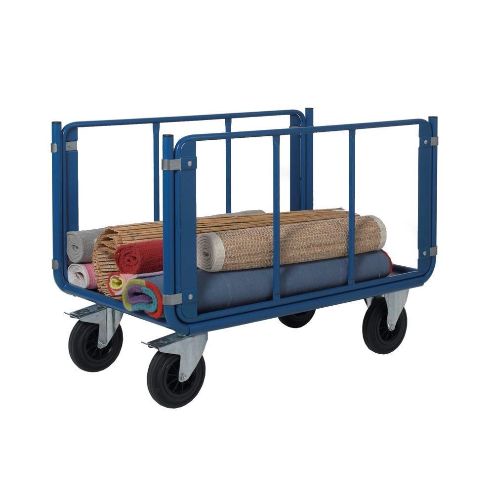 Chariot manutention 2 ridelles tubulaires charge 500kg - L120 x l70cm
