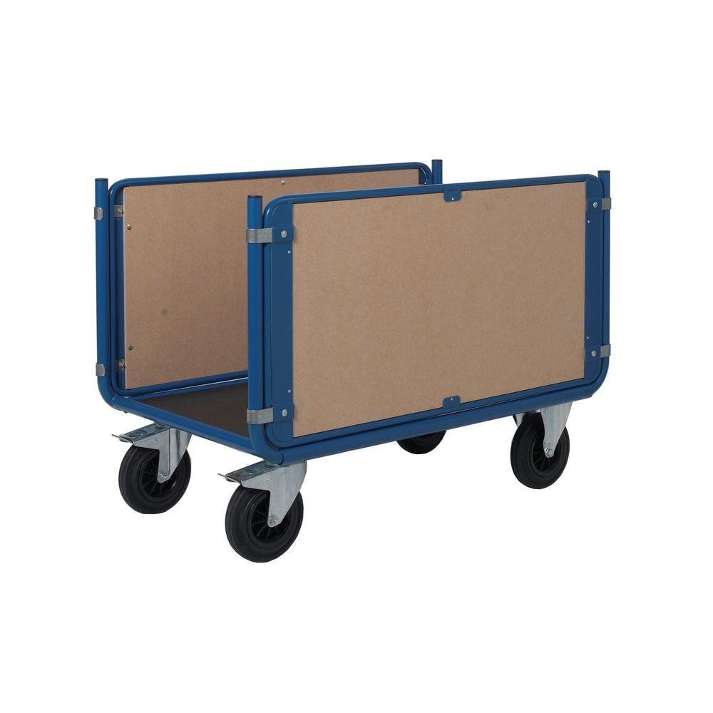Chariot manutention 2 ridelles en bois charge 500kg - L120 x l80cm