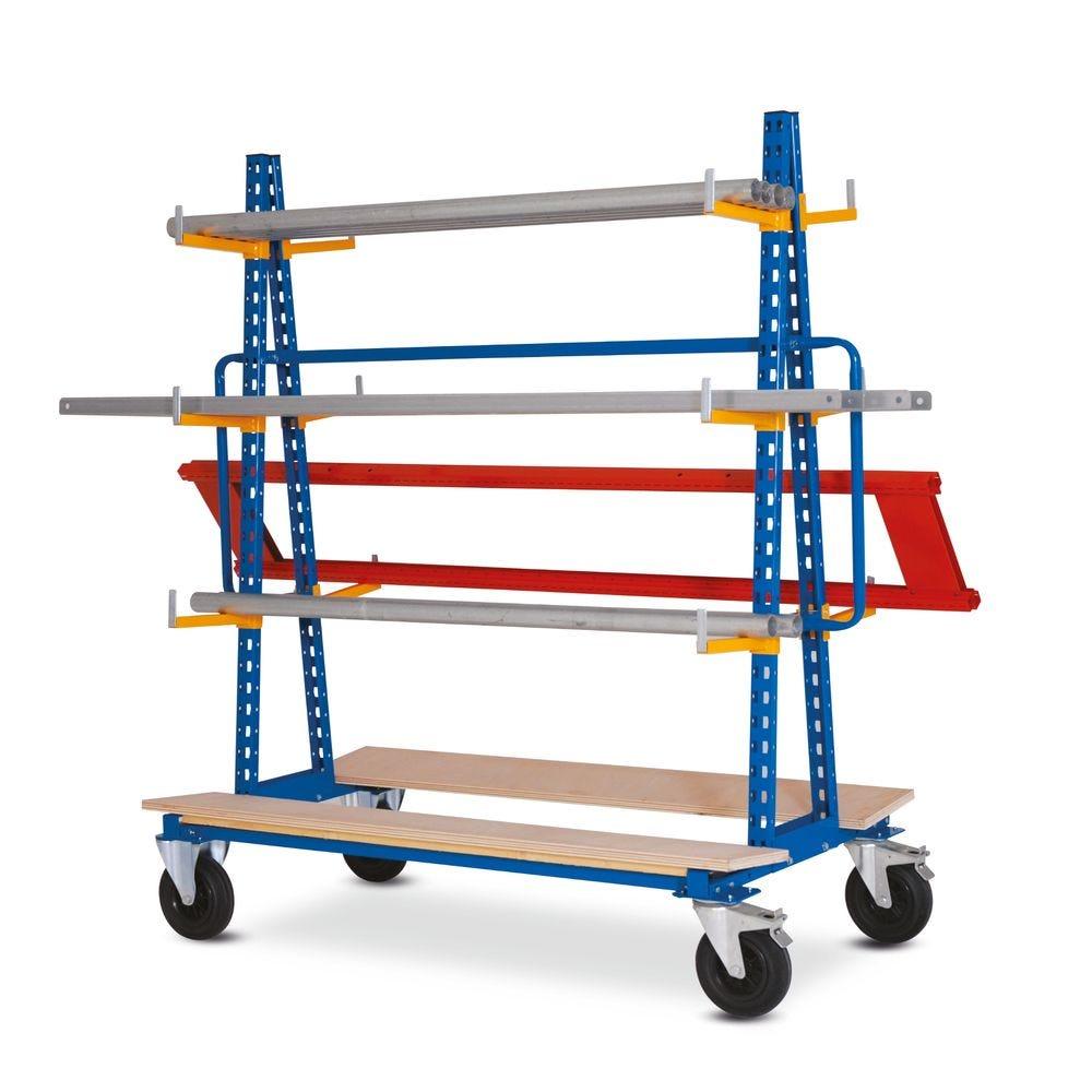 Chariot râtelier double face stockage horizontal - L168,8cm x P81cm x H178,5cm