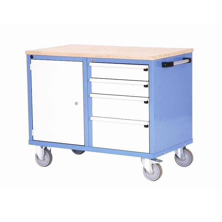 Etabli mobile 1 porte 4 tiroirs charge 250 kg (photo)
