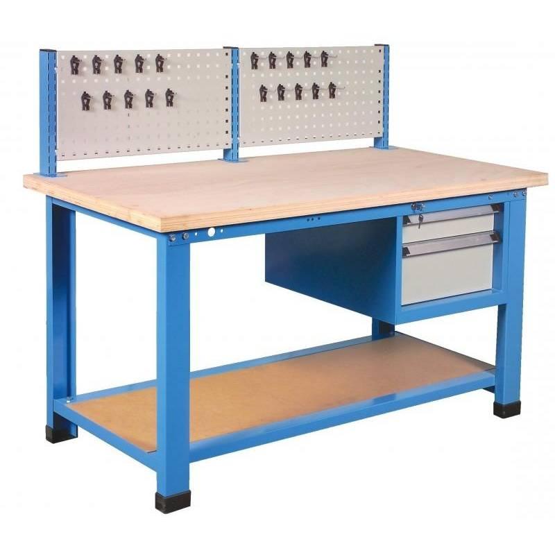 Etabli caisson 2 tiroirs + support outils longueur 1,5 m charge 1 t. Stratifié (photo)
