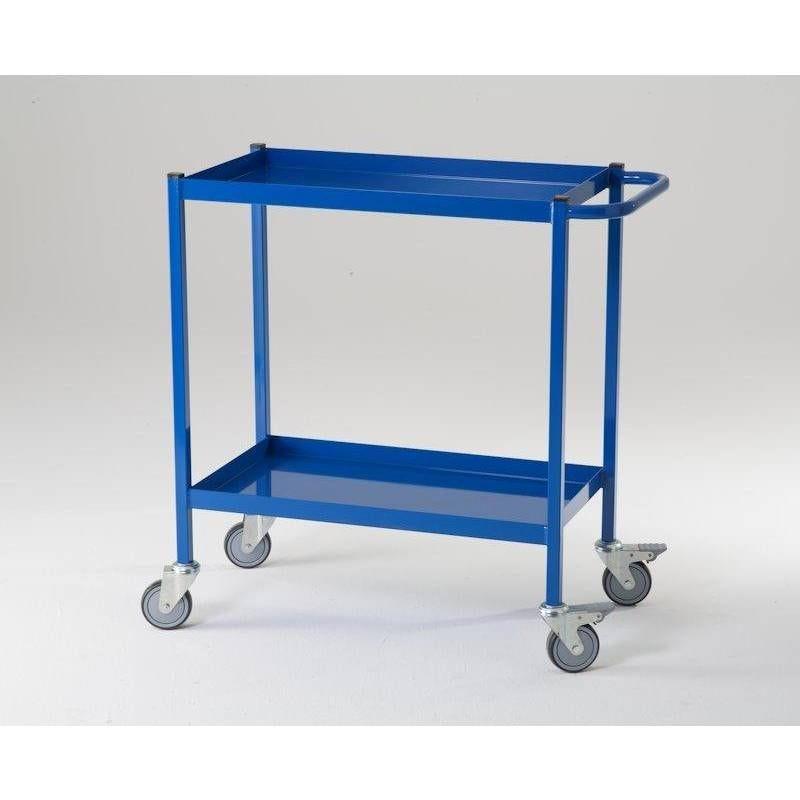 Desserte d'atelier 2 plateaux 150 kg - bleu (photo)