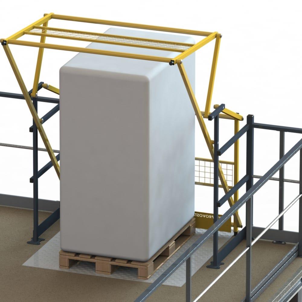 Barrière écluse basculante pour plateforme de stockage 1,70 x 2,05 x 1,65 m (photo)