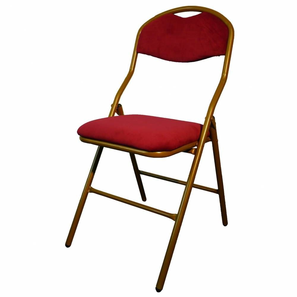 Chaise pliante cross viel or assise grenat - par 6 (photo)