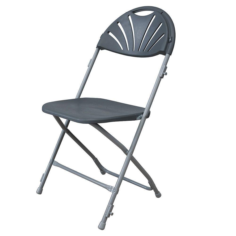 Chaise pliante palme gris anthracite m2 - par 6 (photo)