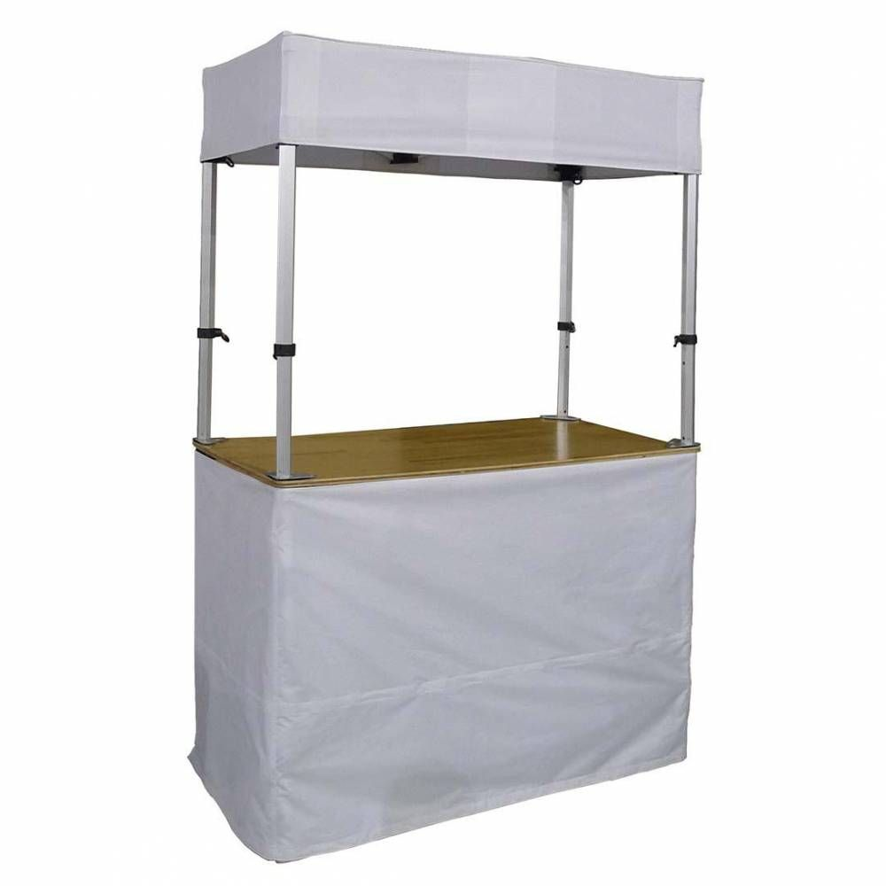 Stand buvette/buffet de 140 x 70 cm avec toile orange (photo)