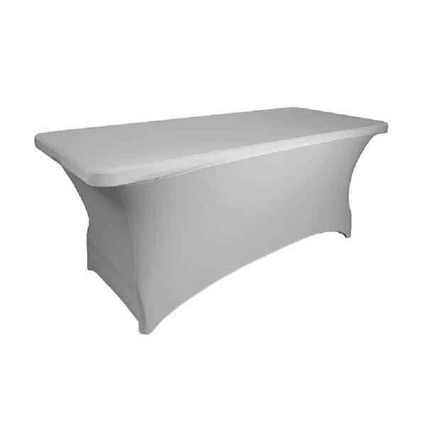 Nappe + surnappe pour table 183 x 76 cm coloris blanc (photo)