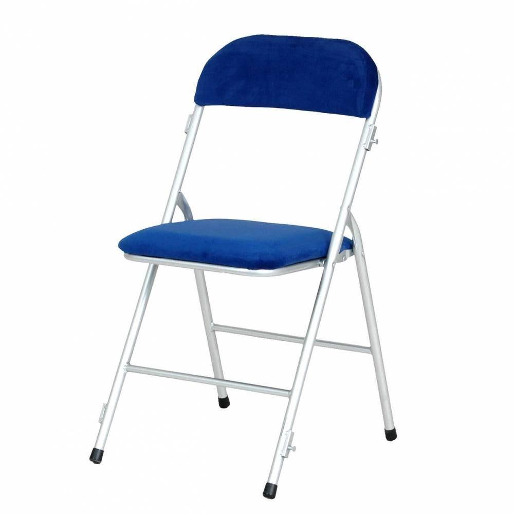 Chaise pliante prestige argent assise bleue m1 - par 6 (photo)