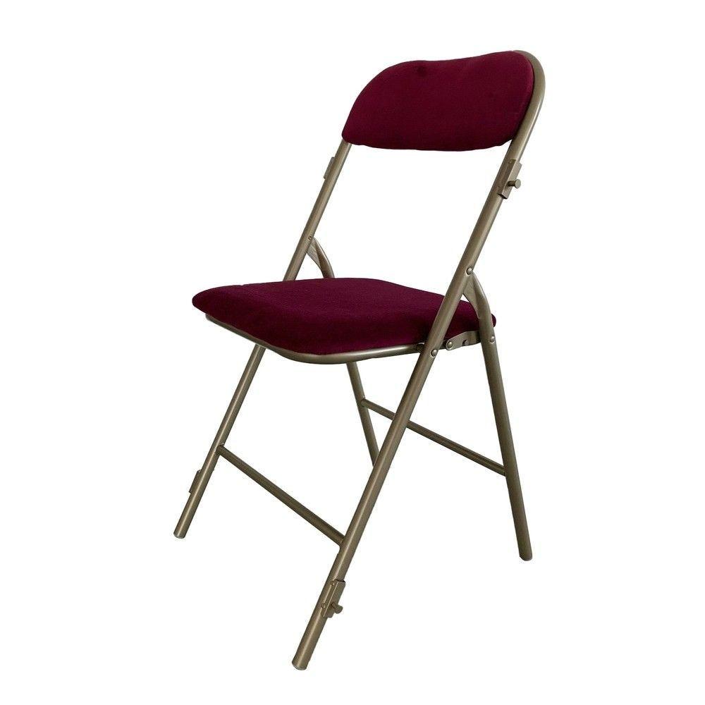 Chaise pliante prestige vieil or assise grenat m1 - par 6 (photo)