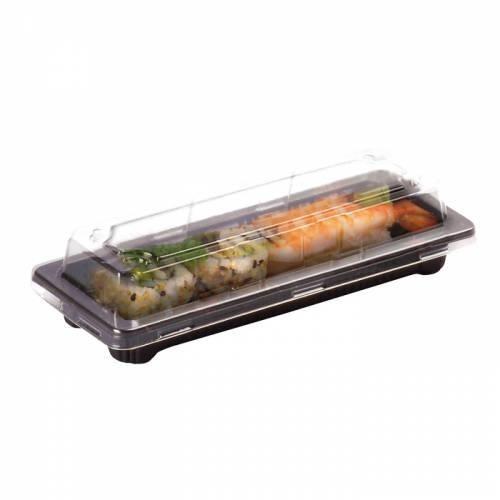 Barquette sushi plastique noire 16,5 x 9 cm hauteur 4 cm - par 50 (photo)