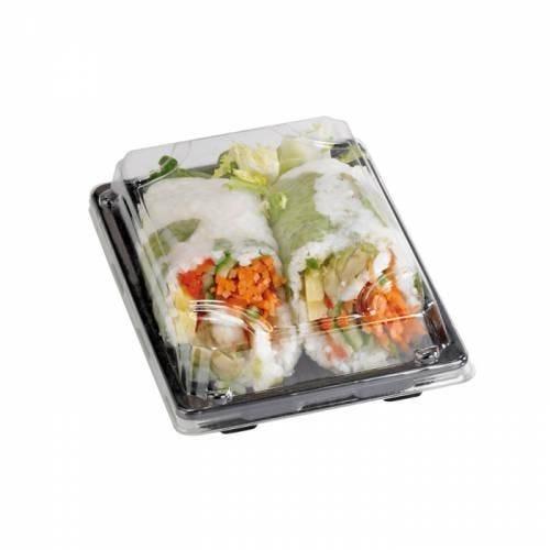 Barquette sushi plastique noire 22 x 14 cm hauteur 4 cm - par 50 (photo)