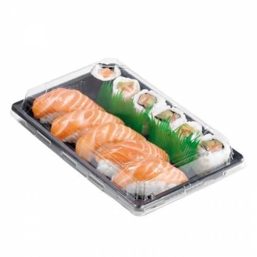 Barquette sushi plastique noire 24 x 15 cm hauteur 4 cm - par 50 (photo)
