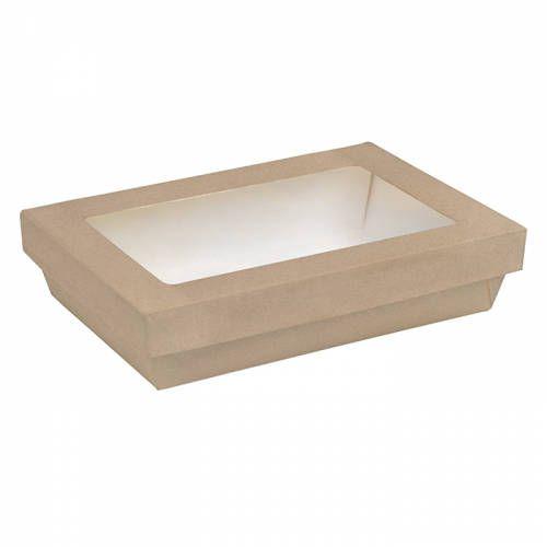 Boite rectangulaire carton brun avec couvercle à fenêtre - par 200 (photo)