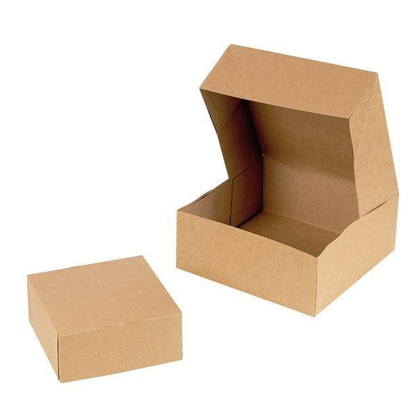 Boite pâtissière carton kraft brun 140x140x60 mm - par 300