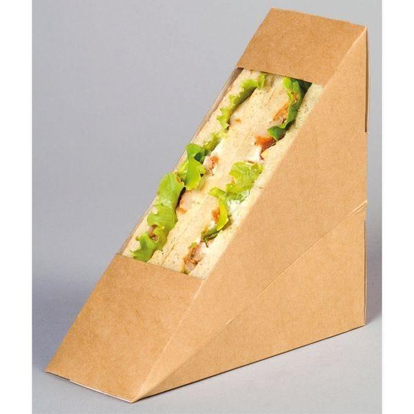Boîte sandwich simple triangle à fenêtre en carton kraft - par 500 (photo)