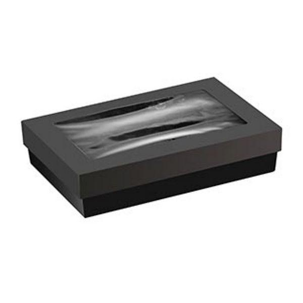 Boîte rectangulaire carton noir avec couvercle à fenêtre 210x140x50 mm - par 100 (photo)
