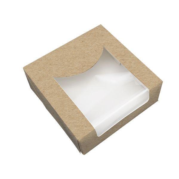 Boîte pâtissière brune fenêtre pla 100 x 100 x 40 mm - par 500