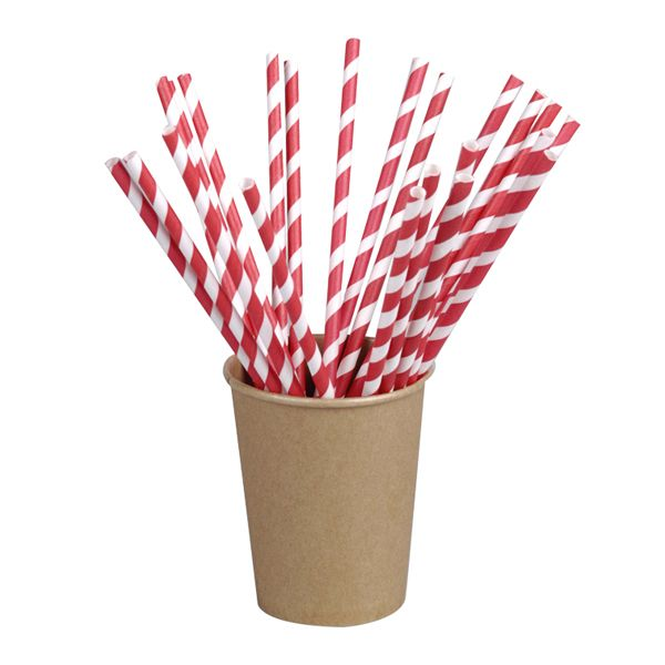 Chalumeau x  papier rouge/blanc emballage individuel - par 3000 (photo)