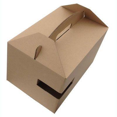 Boîte kraft lunch avec poignées par 100 (photo)