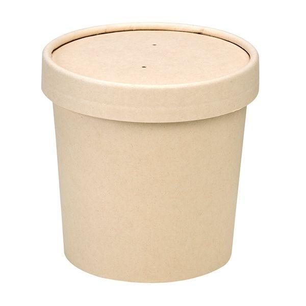 Pot carton fibre bambou avec couvercles 12oz - par 500